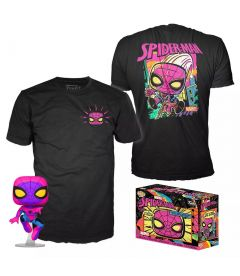 FUNKO POP & TEE! MARVEL BLACK LIGHT - SPIDER-MAN (TAGLIA L)