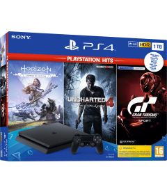 PS4 1TB SLIM PS HITS (HORIZON ZERO + UNCH 4 + GT SPORT)