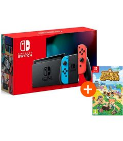NINTENDO SWITCH V 2019 (NEON) + ANIMAL CROSSING NEW HORIZONS