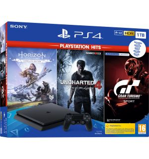 PS4 1TB SLIM PS HITS (HORIZON ZERO + UNCH 4 + GT SPORT)
