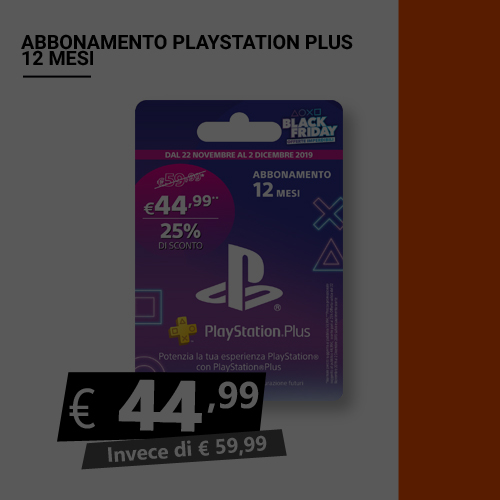 Offerta Abbonamento Playstation Plus 12 mesi Black Friday