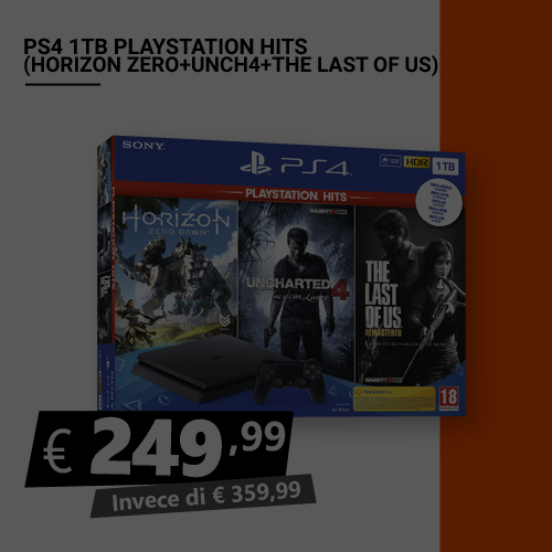 Offerta PS4 1TB Playstation Hits Horizon Zero Uncharted 4 The Last Of Us Black Friday