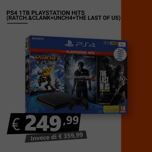Offerta PS4 1TB Playstation Hits Ratchet and Clank Uncharted 4 The Last Of Us Black Friday