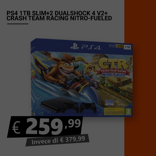 Offerta PS4 1TB Slim più Chrash Nitro Fueled più 2 dualshock Black Friday