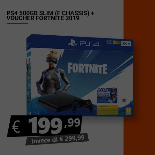 Offerta PS4 500 GB più Voucher Fortnite 2019 Black Friday